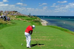 KOHLER, WI - AUGUST 15:  Jason Day of Australia hits his tee shot on the seventh hole during the final round of the 92nd PGA Championship on the Straits Course at Whistling Straits on August 15, 2010 in Kohler, Wisconsin.  (Photo by Stuart Franklin/Getty Images)