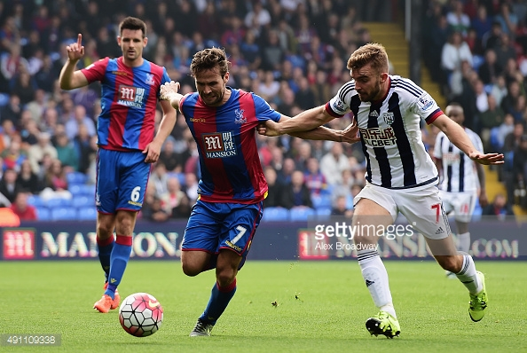 (Image Courtesy of Getty Images) Palace's Yohan Cabaye battles West Brom's James Morrison